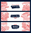fresh meat sketch banner for butchery shop design vector image vector image