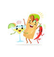 funny cartoon characters of red pepper cocktail vector image