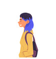 girl with dyed hair with backpack side view vector image