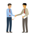 handshake two businessmen want to shake hands vector image