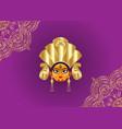 happy navratri goddess face in happy durga puja vector image