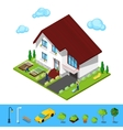 Isometric House with Green Yard and Gardeners vector image vector image
