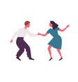 joyful man and woman performing lindy hop dance vector image vector image