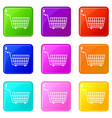 large empty supermarket cart icons 9 set vector image vector image