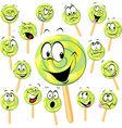 lollipop cartoon with many expressions isolated on vector image vector image