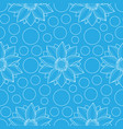 lotus and circles blue seamless pattern vector image