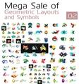 Mega set of geometric layouts and symbols vector image vector image