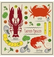 Menu cancer shrimp crab mussels lemon vector image vector image