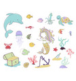 mermaid sea animals and water plants vector image vector image