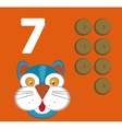 Number 7 - Cat with seven crunchies vector image vector image