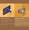 online education and distance learning poster vector image vector image