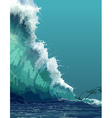 painted backdrop of a giant tsunami wave vector image vector image