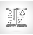 Planet book flat line design icon vector image