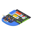 port warehouse - modern colorful isometric vector image