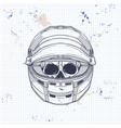 racer skull with helmet vector image vector image