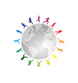 rainbow running around the world vector image