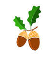 ripe acorn icon autumn oak nut and seed logo vector image vector image
