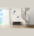 room with spiral staircase empty living interior vector image vector image