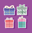 set gift boxes surprises celebration party vector image