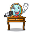 singing dressing table mascot cartoon vector image