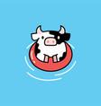 swimming cute cow playful cartoon logo icon vector image