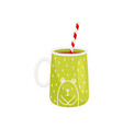 tasty cocoa in cup with drinking straw delicious vector image vector image