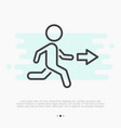 thin line icon of exit running man and arrow vector image vector image
