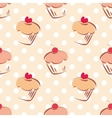 tile cupcake and polka dots pattern vector image