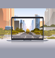 transparent laptop screen cityscape background vector image