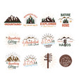 travel badges set vintage hand drawn camping vector image