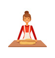 young woman rolling dough housewife girl cooking vector image vector image