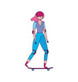 young woman with skateboard with helmet protection vector image