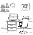 Sketchy of office interior room graphic imag vector image