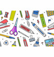 school supplies pattern vector image