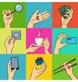 Pop art hands set vector image