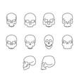 thin line home skull icon set vector image
