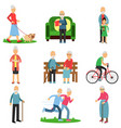 aged people characters in different situations set vector image vector image