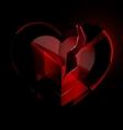 broken heart-crystal with black veil vector image vector image