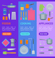 cartoon cookware banner vecrtical set vector image vector image