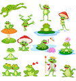 cartoon funny frog collection set vector image vector image