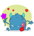 Cartoon monster with flower vector image vector image