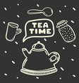 cartoon teapot and jam on black background tea vector image