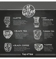 chalk drawings decorative cup coffee vector image