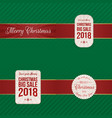 christmas festive labels with red ribbons vector image
