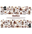coffee banner with hot drink and beverage border vector image vector image