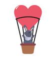 cute rabbit in air balloon vector image
