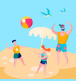 daddy and kids playing ball game flat vector image vector image
