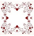 decorative frame with hearts flowers vector image vector image
