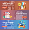 foreign languages learning banner set design vector image vector image