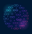 glasses round colored concept outline vector image
